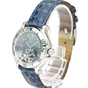 Chopard Blue MOP Diamonds Stainless Steel Happy Sport 27/8438 Quartz Women's Wristwatch 33 MM