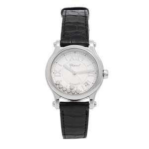 Chopard Stainless Steel Leather Happy Sport Floating Diamonds 8559 Women's Wristwatch 36 mm