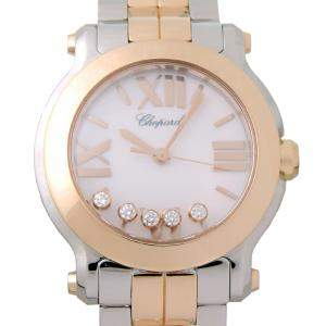 Chopard White 18K Rose Gold And Stainless Steel Happy Sport 278509-6003 Women's Wristwatch 30 MM