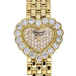 Chopard Champagne Diamonds 18K Yellow Gold Happy Hearts 5351 Women's Wristwatch 19 MM