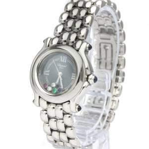 Chopard Black Diamonds Stainless Steel Happy Sport Quartz 27/8250-23 Women's Wristwatch 26 MM