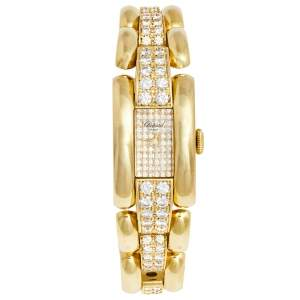 Chopard Champagne 18K Yellow Gold Diamond Pave La Strada 41/6543 Women's Wristwatch 18 mm