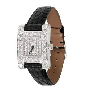 Chopard Silver Diamonds 18K White Gold Your Hour 13/6927 Women's Wristwatch 19 MM