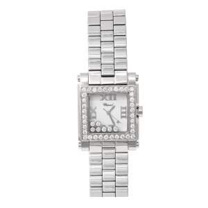 Chopard White Stainless Steel Diamond Happy Sport Square 278496.3001 Women's Wristwatch 30 mm