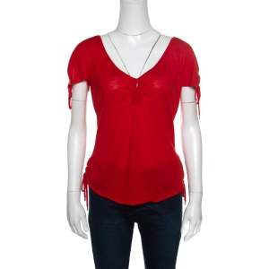 Christian Dior Boutique Red Cashmere Knit Raglan Sleeve V Neck Top L