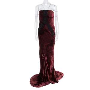 Christian Lacroix Burgundy Velvet Cord Embroidered Strapless Evening Gown M
