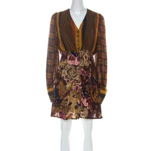 Christian Lacroix Vintage Multicolor Printed Crepe Short Dress M