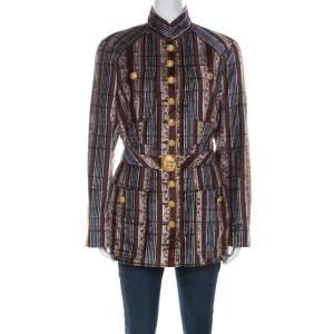 Christian Lacroix Vintage Multicolor Striped Velvet Belted Tailored Jacket XL
