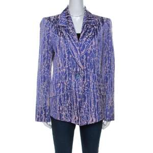 Christian Lacroix Purple Wool Silk Blend Burnout Blazer XL