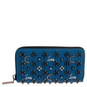 محفظة كريستيان لوبوتان سحاب ملتف بانتون سبايك جلد زرقاء