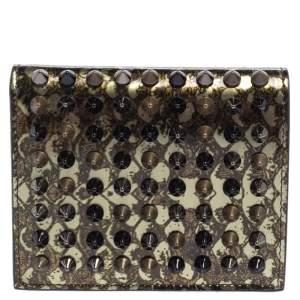 Christian Louboutin Metallic Green Python Effect Patent Leather Spike Paros Wallet