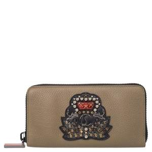 Christian Louboutin Olive Green Leather Panettone Zip Around Wallet