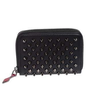 محفظة عملات معدنية كريستيان لوبوتان بانيتون جلد سبايكي أسود