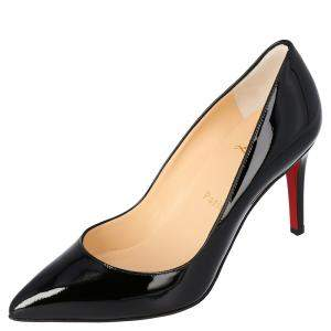 Christian Louboutin Black Patent Leather Pigalle Pointed Toe Pumps Size 36.5