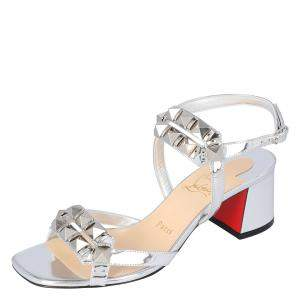 Christian Louboutin Silver Patent Leather Galerietta Block Heel Sandals Size 37