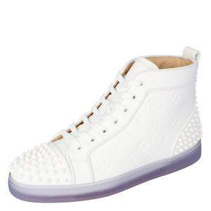 "Christian Louboutin White Embossed ""LoubinTheSky"" Leather Lou Spikes 2 High-Top Sneakers Size 41.5"