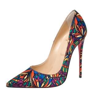 Christian Louboutin Multicolor Vitrail Print Satin So Kate Pointed Toe Pumps Size 38