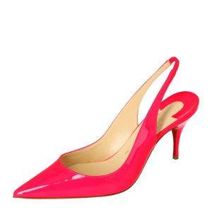 Christian Louboutin Pink Patent Leather Clare Pointed Toe Slingback Sandals Size 38