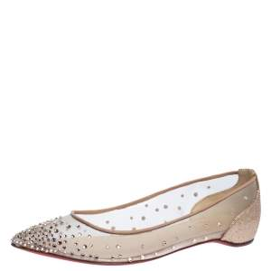 Christian Louboutin Beige Embellished Mesh And Lame Fabric Follies Strass Pointed Toe Ballet Flats Size 35.5