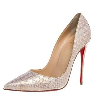 Christian Louboutin White/Gold Python Leather So Kate Pointed Toe Pumps Size 40