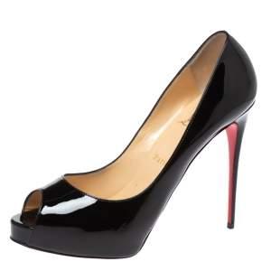 Christian Louboutin Black Patent Leather Very Prive Peep Toe Platform Pumps Size 40.5