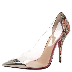 Christian Louboutin Multicolor Python and PVC Djalouzi Metal Cap Pointed Toe Pumps Size 38.5