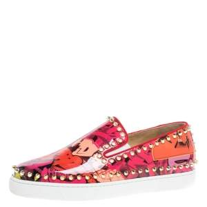 Christian Louboutin Multicolor Graphic Print Patent Leather Pik Boat Slip On Sneakers Size 38