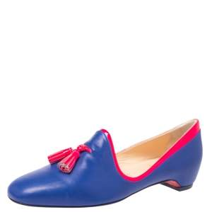 Christian Louboutin Blue/Neon Pink Leather Lady Moc Tassel Smoking Slippers Size 38