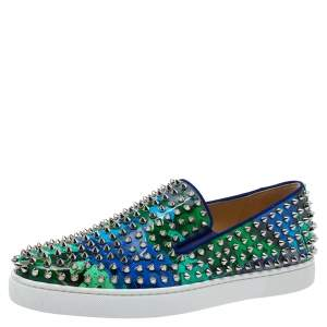 Christian Louboutin Multicolor Graphic Print Patent Leather Pik Boat Slip On Sneakers Size 42