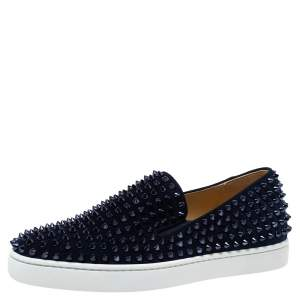 Christian Louboutin Navy Blue Suede Roller Boat Spiked Slip On Sneakers Size 40