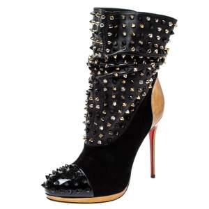 Christian Louboutin Black Suede and Gold Patent Leather Spike Wars Ankle Boots Size 39.5