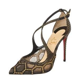 Christian Louboutin Black/Gold Fabric And Mesh Twistissima Crisscross Pumps Size 37.5