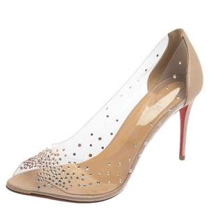 Christian Louboutin Beige PVC And Leather Sucre Glace Pumps Size 42