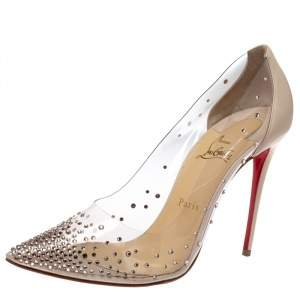 Christian Louboutin Cream Leather And PVC Degrastrass Pointed Toe Pumps Size 41