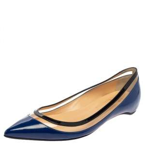 Christian Louboutin Blue/Black Patent Leather And PVC Paulina Pointed Toe Flats Size 37.5