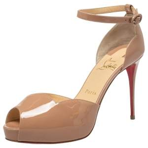 Christian Louboutin Beige Patent Leather Round Chick Alta Ankle Strap Sandals Size 38