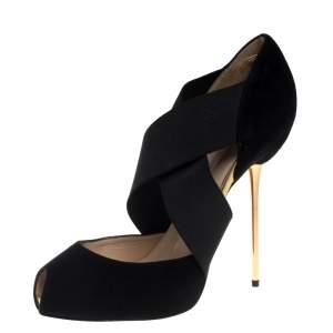 Christian Louboutin Black Suede And Elastic Big Dorcet Peep Toe Pumps Size 38.5