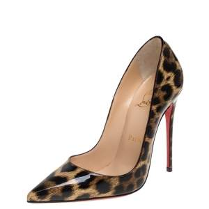 Christian Louboutin Multicolor Leopard Print Patent So Kate Pointed Toe Pump Size 36