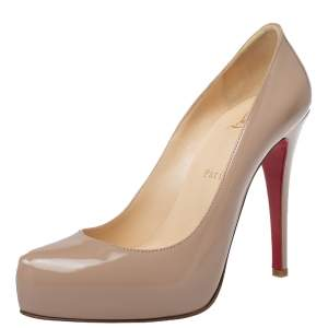 Christian Louboutin Beige Patent Leather Rolando Platform Pumps Size 37.5