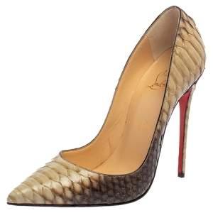 حذاء كعب عالى كريستيان لوبوتان سوكيت جلد ثعبان رمادى / بنى مقاس 38.5