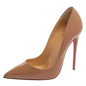 Christian Louboutin Nude Beige Patent Leather So Kate Pumps Size 38