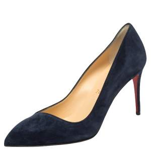 Christian Louboutin Navy Blue Suede Corneille 85 Pumps Size 37