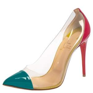 Christian Louboutin Multicolor Patent Leather and PVC Debout Pointed Toe Pumps Size 38