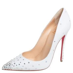 حذاء كعب عالى كريستيان لوبوتان ديجراستراس 120 جلد أبيض مقاس 37