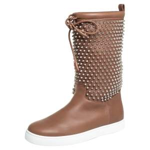 Christian Louboutin Brown Leather Surlapony Spiked Mid Calf Boots Size 41.5