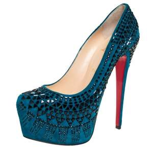 Christian Louboutin Blue Suede Decorapump Embellished Platform  Pumps Size 39