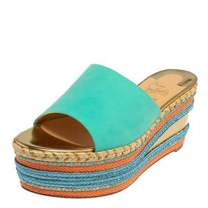 Christian Louboutin Blue Nubuck Leather Myriama Espadrille Wedge Sandals Size 39