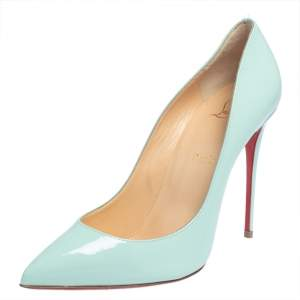 Christian Louboutin Turquoise Patent Leather So Kate Pumps Size 40.5