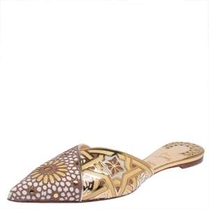 Christian Louboutin Multicolor Laser Cut Leather And Suede Royal Mansour Flat Slipper Size 42