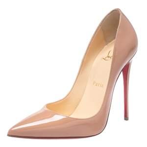 حذاء كعب عالي كريستيان لوبوتان سو كيت جلد وردي لامع بيج مقاس 36.5